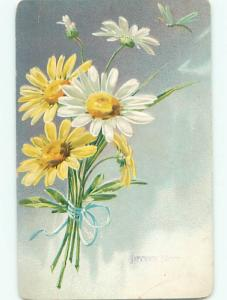 Pre-Linen christmas TUCK - BEAUTIFUL WHITE AND YELLOW DAISY FLOWERS k1000
