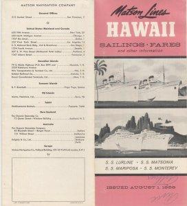 HAWAII , 1958; Matson Lines, Sailings & Fares Brochure