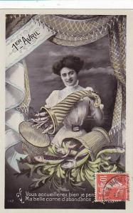 1er Avril April Fool's Day Young Woman With Basket Of Fish 1910