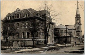 1909 STREATOR, Illinois Postcard Church of the Immaculate Conception & School