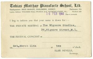 Tobias Matthew Pianoforte School 1944 used invitation card