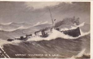 RP, British Destroyer In A Gale, Warship, 1910-1920s (1)