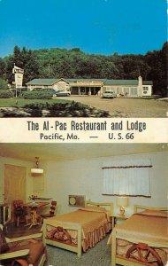 LP11 RT 66 Pacific  Missouri Postcard Al Pac Restaurant Lodge