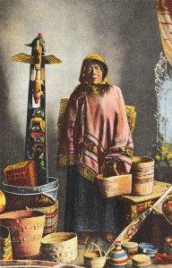 SIWASH BASKET MAKER Native Americana Indian Woman ca 1910s Vintage Postcard