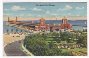Navy Pier Chicago Illinois linen postcard