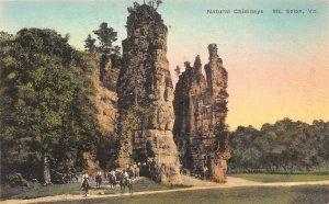 LP61 Mt. Solon  Virginia Postcard Natural Chimneys Hand Colored Albertype