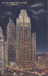 The Tribune Tower By Night Chicago Illinois 1943