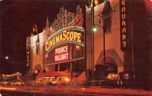 Hollywood CA~Grauman's Chinese Theatre~Neon Night Lights~Prince Valiant~1954