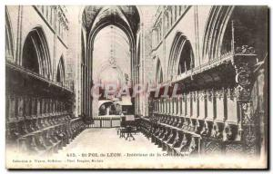 Old Postcard St Pol de Leon Interior of the Cathedral