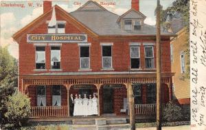 D28/ Clarksburg West Virginia WV Postcard c1910 City Hospital Building
