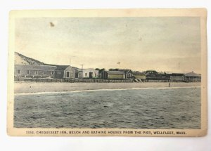 Chequesset Inn Beach and Bathing Houses Wellfleet MA Cape Cod vintage postcard