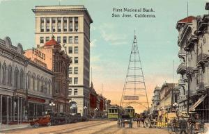 San Jose California First National Bank Street View Antique Postcard K46802