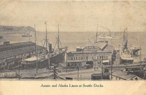 Seattle Washington~Asiatic & Alaska Ships in Harbor~John Aden Dock~c1910 Pc
