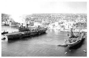 Postcard Royal Navy HMS Centaur & HMS Eagle Aircraft Carriers in Malta 1955 #59