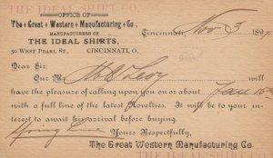 CINCINNATI , Ohio, 1894 ; Great Western Mfg Co. , The Ideal Shirts