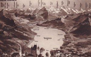 BERNER OBERLAND, Switzerland, 1930-1950s; Thunersee Lake, Mountain Range