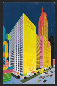 Sheraton Hotel at Night Chicago Illinois AWESOME COLOR Unused c1960s