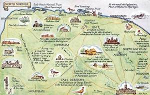 North Norfolk Map, Fakenham, King's Lynn, Aylsham Norwich