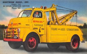 Jasper IN Hoffman Brothers Wrecker Tow Truck Linen Postcard