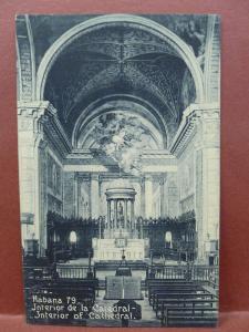 Old Postcard Havana Cuba Interior of Cathedral