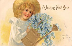 New Year~Blonde in Straw Hat~Pours Forget-Me-Nots~Watering Can~TUCK Art~Emboss