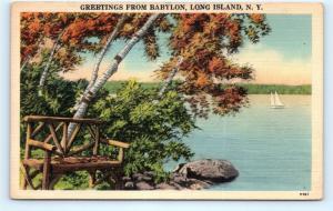 Postcard NY Babylon Long Island Scenic Greetings Vintage Linen I6