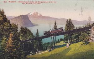 Rigibahn, Schnurtobelbrucke mit Burganstock und Pilatus, Lucerne, Switzerland...