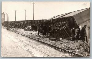 Butterfield Minnesota Depot~C&NW Train Wreck~Derailed at Station~Jan 2 1911 RPPC