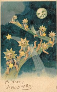 LP52 Fantasy Comets Moon Man Stars  New Years Holiday Vintage Postcard