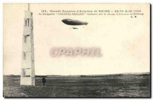 Old Postcard Jet Aviation Zeppelin Airship Colonel Renard evolving on the d &...