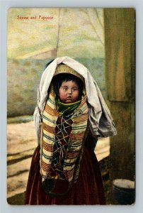 Native Americana - Indian Squaw and Papoose, Vintage c1910 Postcard