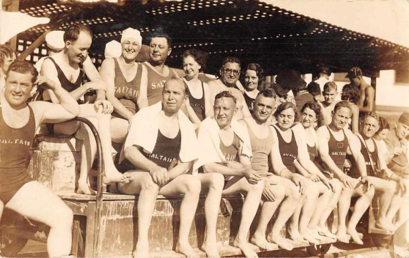 People in Bathing Suits Sailtair Real Photo Antique Postcard J72965