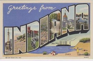 Indiana Greetings From Large Letter Linen Curteich