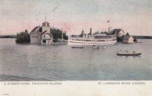 Steamer , 1000 Islands , Ontario , Canada , 1907 ; At Summer Home