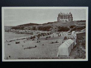 Cornwall NEWQUAY Headland Hotel & Fistral Beach - Old Postcard