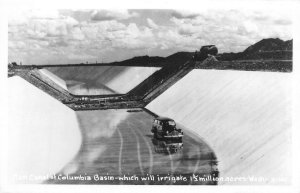 RPPC Main Canal of Columbia Basin, Washington c1940s Vintage Photo Postcard