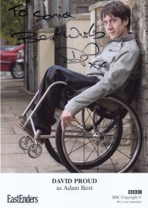 David Proud Adam Best BBC Handicapped Eastenders Hand Signed Cast Card Photo