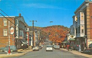 High Bridge NJ Main Street Esso Gas Station Old Cars Postcard