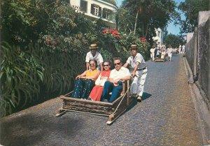 Portugal Postcard Madeira typical basket wagon running cart race narrow street