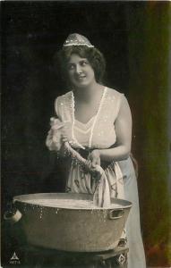 Buxom Young Woman Wash Tub C-1910 RPPC Photo Postcard 13115