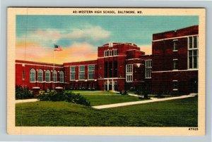 Baltimore MD-Maryland, Western High School, Linen Postcard