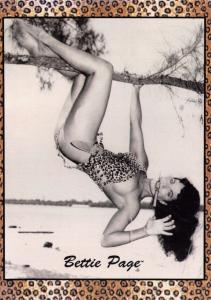 Postcard BETTIE PAGE in Leopard Skin Bikini 1950's Pin Up Girl Model Risque
