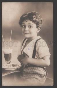 112324 Charming BOY w/ COCKTAIL Vintage PHOTO Comic PC