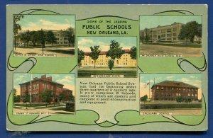 New Orleans Louisiana la Public Schools multi views linen postcard