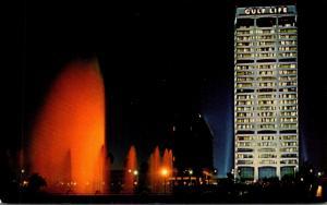 Florida Jacksonville Friendship Fountain At Night Showing Gulf Life Insurance...