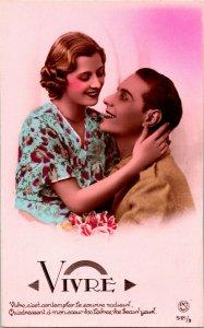 Vtg 1910s RPPC PC Paris Romanze 'Live' - Vivre - WW1 Soldat Unp