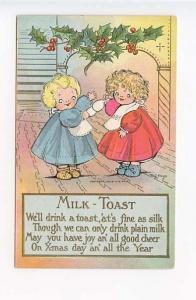 Christmas Two Girls Milk Toast Poem M. G. Hays Signed Postcard