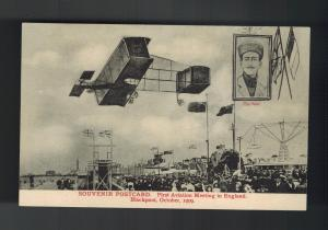 1909 Mint First Aviation Meeting Blackpool England Biplane RPPC Postcard