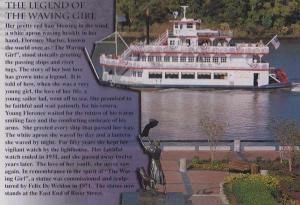 Savannah Georgia Boat Ship Legend Of The Waving Girl Postcard