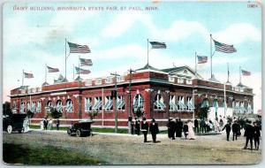 St. Paul, MN Postcard Dairy Building, Minnesota State Fair 1910 MN Cancel